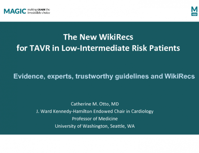 An Interesting Alternative: The New WikiRecs for TAVR Use in Lower Risk Patients