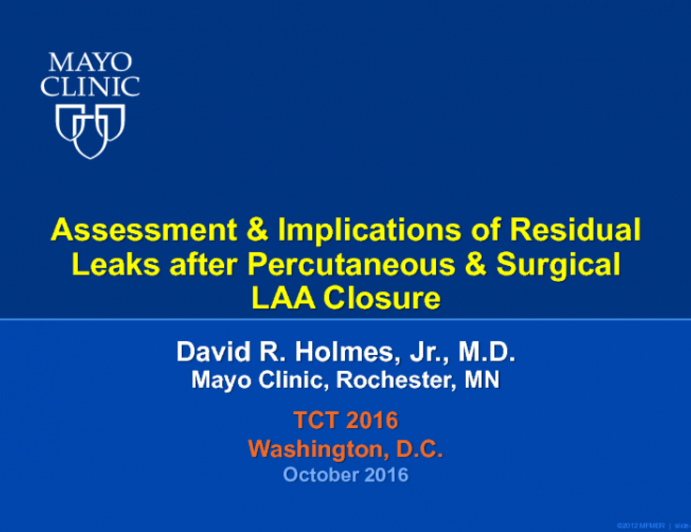 Assessment and Implications of Residual Leaks After Percutaneous and Surgical LAA Closure