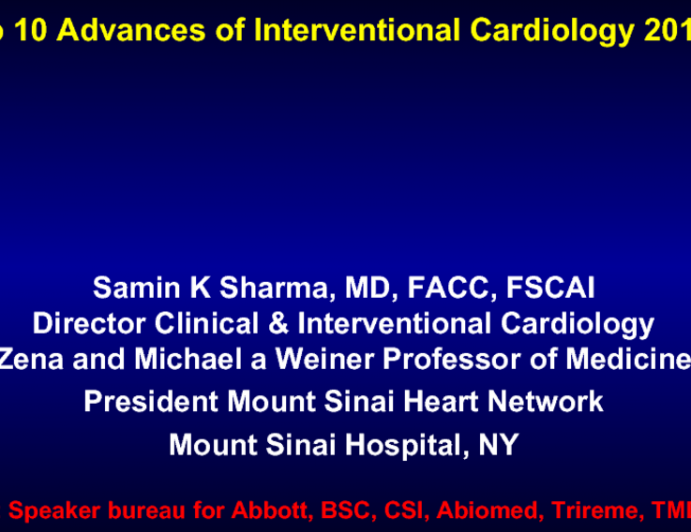 Top 10 Advances of Interventional Cardiology 2015