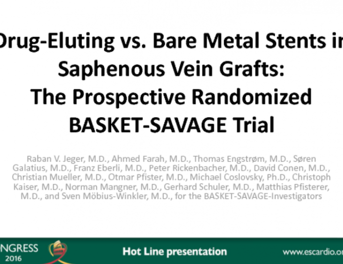Drug-Eluting vs Bare Metal Stents in  Saphenous Vein Grafts: The Prospective Randomized BASKET-SAVAGE Trial