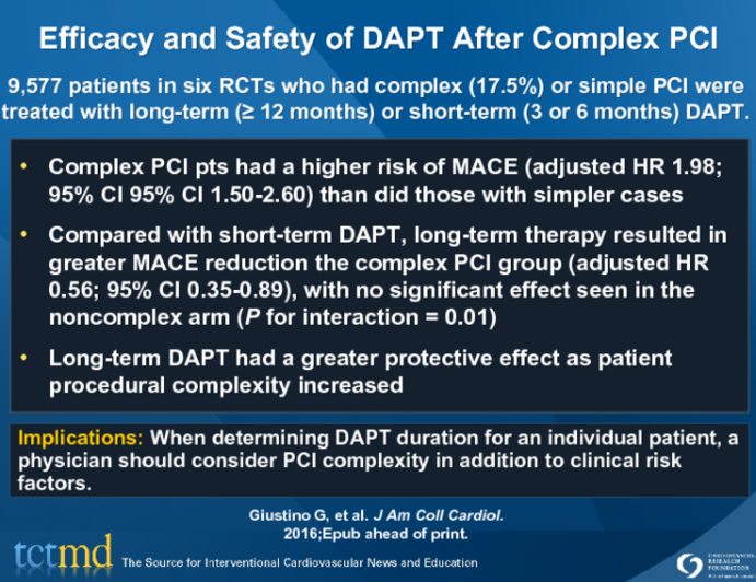 Efficacy and Safety of DAPT After Complex PCI