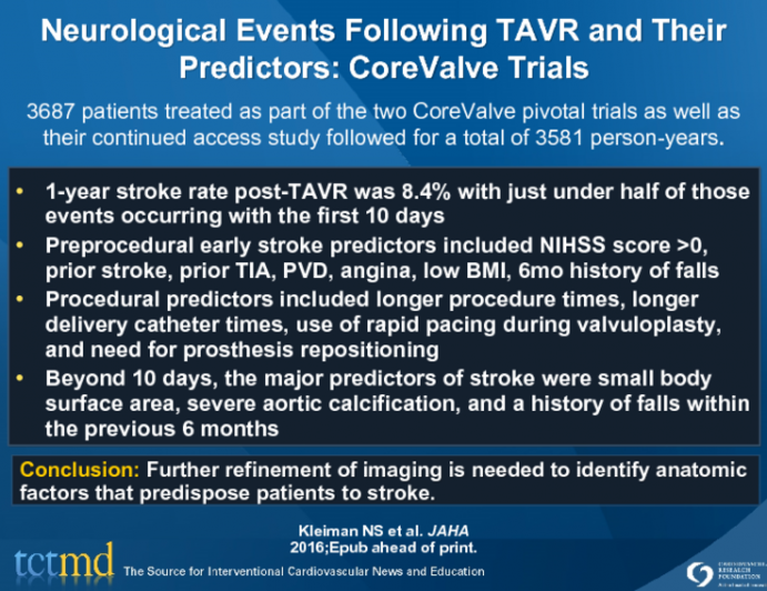 Timing, Risk Factors, Outcomes of Stroke, TIA after TAVR: PARTNER Trial