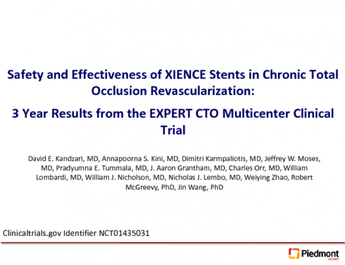 Three Year Outcomes From the EXPERT CTO Trial
