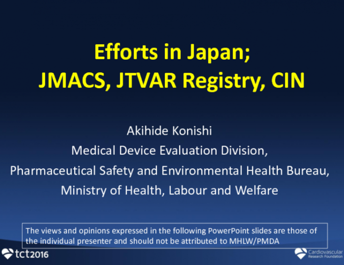 Efforts in Japan: JMACS, JTVAR Registry, CIN