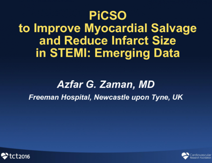 PICSO to Improve Myocardial Salvage and Reduce Infarct Size in STEMI: Emerging Data