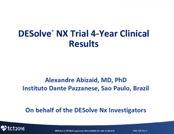 TCT 32: Prospective, Multi-Center Evaluation of the DESolve Novolimus-Eluting Bioresorbable Coronary Scaffold: Imaging Outcomes and Four-Year Clinical and Imaging Results