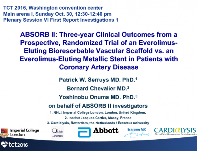 ABSORB II: Three-Year Clinical Outcomes From a Prospective, Randomized Trial of an Everolimus-Eluting Bioresorbable Vascular Scaffold vs an Everolimus-Eluting Metallic Stent in Patients With Coronary Artery Disease