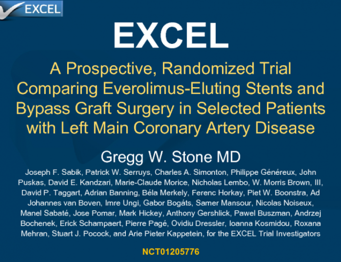 EXCEL: A Prospective, Randomized Trial Comparing Everolimus-Eluting Stents and Bypass Graft Surgery in Selected Patients With Left Main Coronary Artery Disease