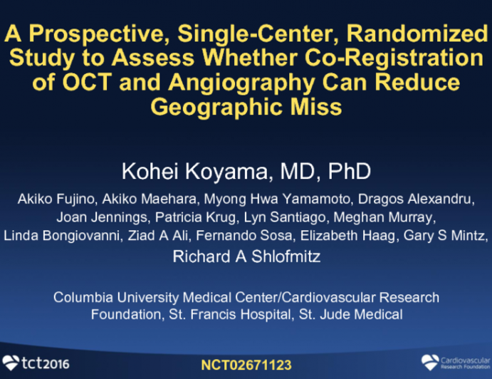 A Prospective, Single-Center, Randomized Study to Assess Whether Co-Registration of OCT and Angiography can Reduce Geographic Miss