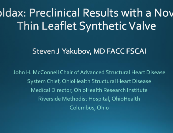 Foldax: Preclinical Results With a Novel Thin-leaflet Synthetic Valve