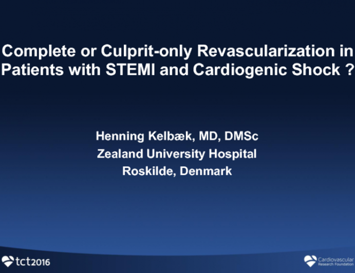 Multivessel CAD in STEMI Patients With Shock: Complete Revascularization or Culprit Only?