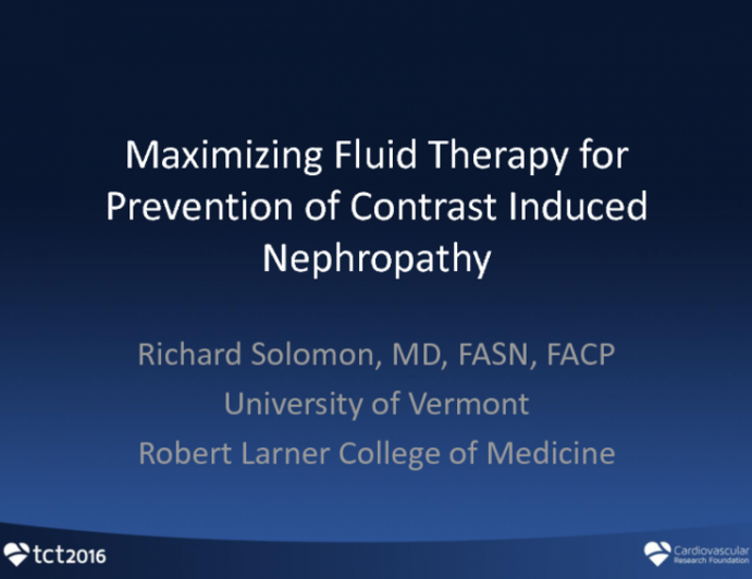 Optimizing Fluid Administration for Contrast Nephropathy Prevention