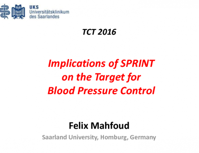 Hot Topic #1: Implications of the SPRINT Trial on the Target for Blood Pressure Control