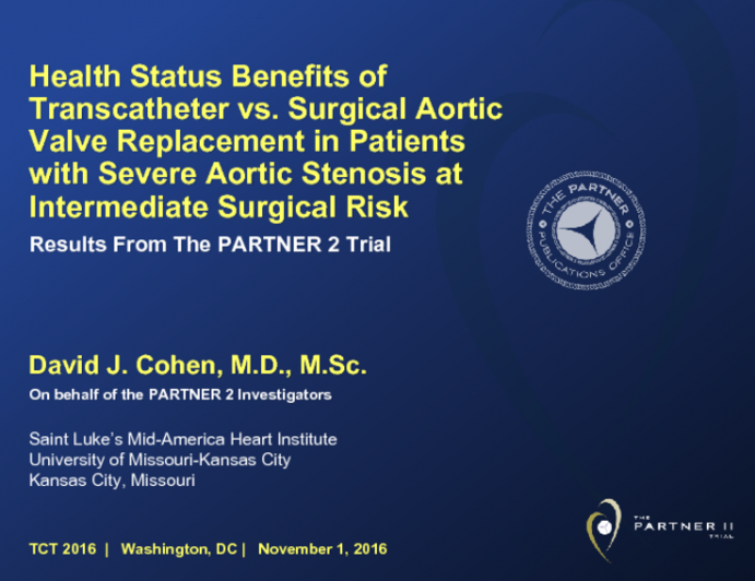 PARTNER II QUALITY OF LIFE: Health Status Benefits From a Prospective, Randomized Trial of Transcatheter and Surgical Aortic Valve Replacement in Intermediate-Risk Patients With Severe Aortic Stenosis