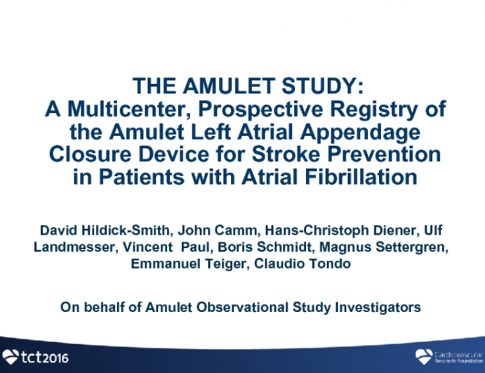 AMULET OBSERVATIONAL STUDY: Multicenter, Prospective, Registry Results With a Left Atrial Appendage Closure Device for Stroke Prevention in Patients With Atrial Fibrillation