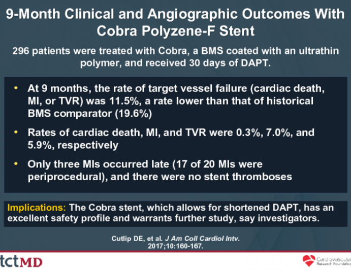 9-Month Clinical and Angiographic Outcomes With Cobra Polyzene-F Stent