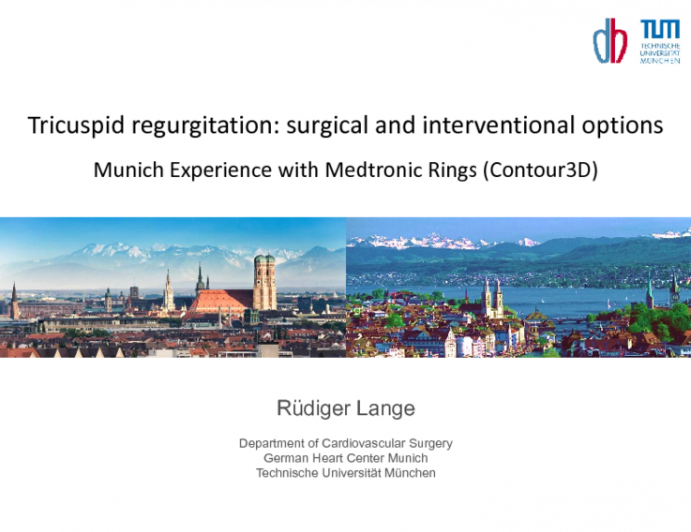 Tricuspid Regurgitation: Surgical and Interventional Options - Munich Experience with Medtronic Rings (Contour3D)