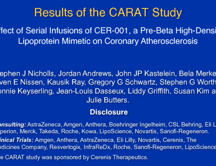 Results of the CARAT Study: Effect of Serial Infusions of CER-001, a Pre-Beta High-Density Lipoprotein Mimetic on Coronary Atherosclerosis