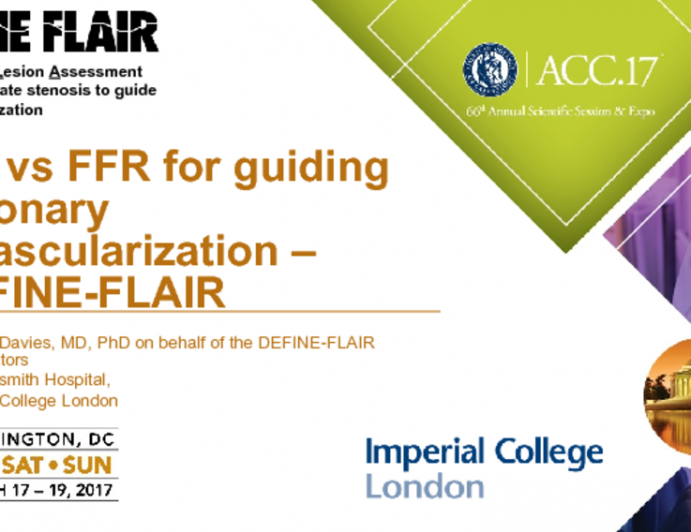 iFR vs FFR for Guiding Coronary Revascularization – DEFINE-FLAIR