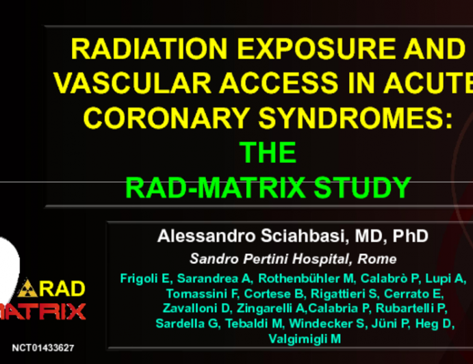 Radiation Exposure and Vascular Access in Acute Coronary Syndromes: The Rad-Matrix Study