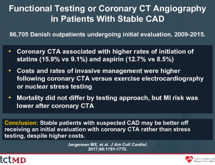 Functional Testing or Coronary CT Angiographyin Patients With Stable CAD