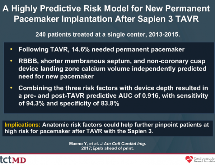 A Highly Predictive Risk Model for New Permanent Pacemaker Implantation After Sapien 3 TAVR
