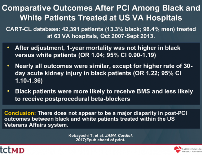 Comparative Outcomes After PCI Among Black and White Patients Treated at US VA Hospitals