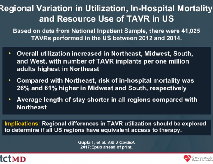 Regional Variation in Utilization, In-Hospital Mortality, and Resource Use of TAVR in US