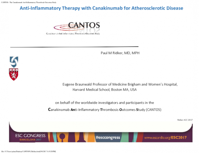 Anti-Inflammatory Therapy with Canakinumab for Atherosclerotic Disease