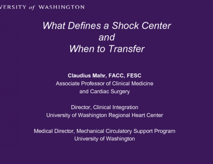 What Defines a Shock Center and When to Transfer