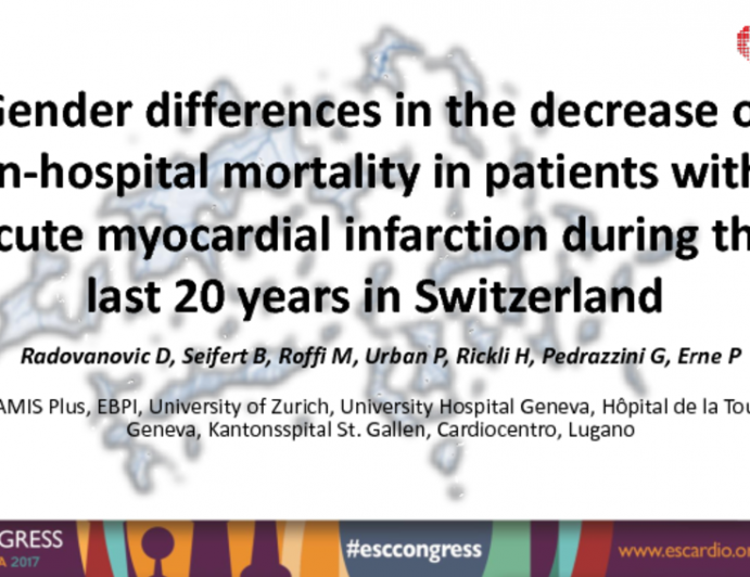 Gender Differences in the Decrease of In-Hospital Mortality in Patients with Acute Myocardial Infarction