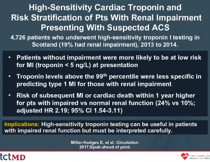 High-Sensitivity Cardiac Troponin and Risk Stratification of Pts With Renal Impairment Presenting With Suspected ACS