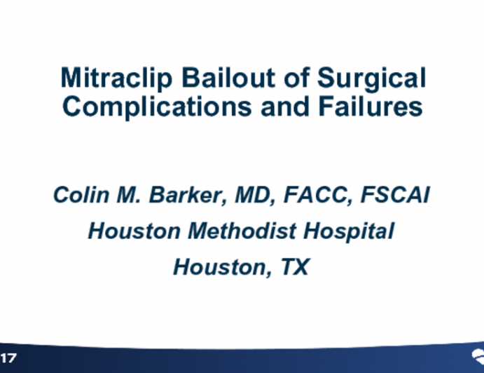 Mitraclip Bailout of Surgical Complications and Failures