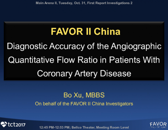 FAVOR II China: Diagnostic Accuracy of the Angiographic Quantitative Flow Ratio in Patients With Coronary Artery Disease