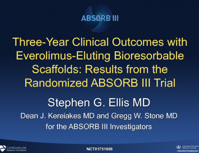 ABSORB III: 3-Year Outcomes From a Randomized Trial of a Bioresorbable Scaffold vs a Metallic DES in Patients With Coronary Artery Disease