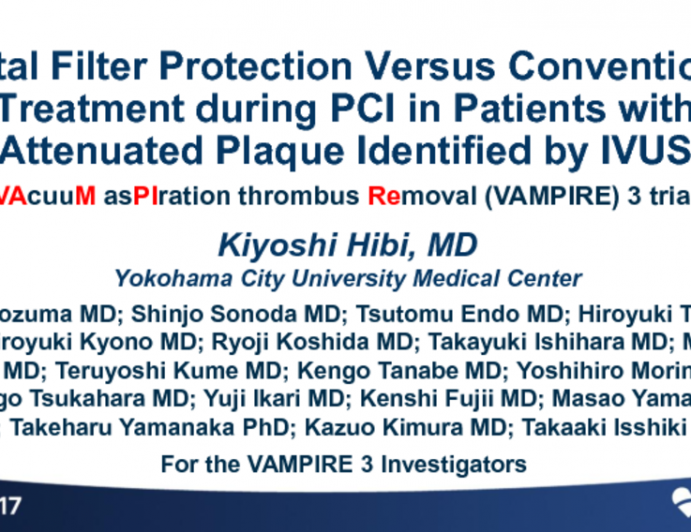 VAMPIRE 3: A Randomized Trial of Distal Filter Protection During PCI of High-Risk Plaque