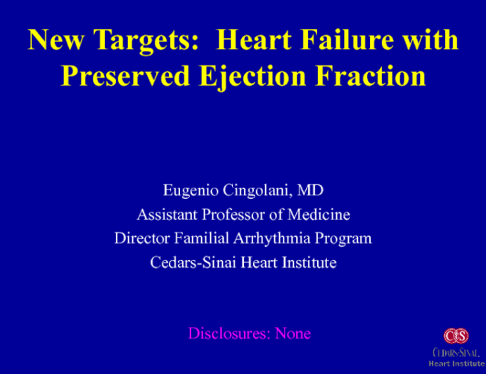 New Targets: Heart Failure With Preserved Ejection Fraction