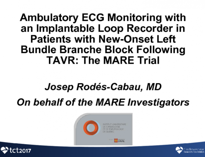 MARE: Ambulatory Electrocardiographic Monitoring With an Implantable Loop Recorder in Patients With New-Onset Persistent LBBB After TAVR