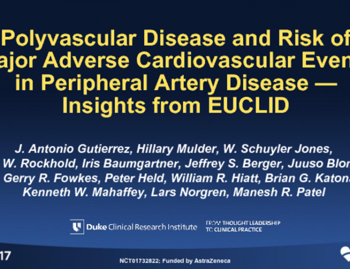 TCT 92: Polyvascular Disease and Risk of Major Cardiovascular Events in Peripheral Artery Disease - Insights From EUCLID