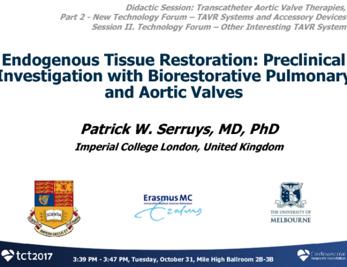 Endogenous Tissue Restoration: Preclinical Investigation With Restorative Pulmonary and Aortic Valves