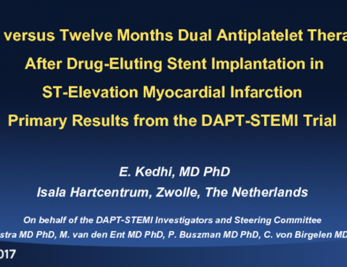 DAPT STEMI: A Randomized Trial of 6-Month vs 12-Month DAPT After DES Implantation in STEMI