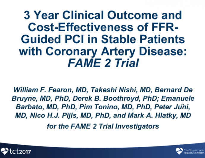 FAME 2: 3-Year Clinical and Cost-effectiveness Outcomes of FFR-Guided PCI in Patients With Coronary Artery Disease