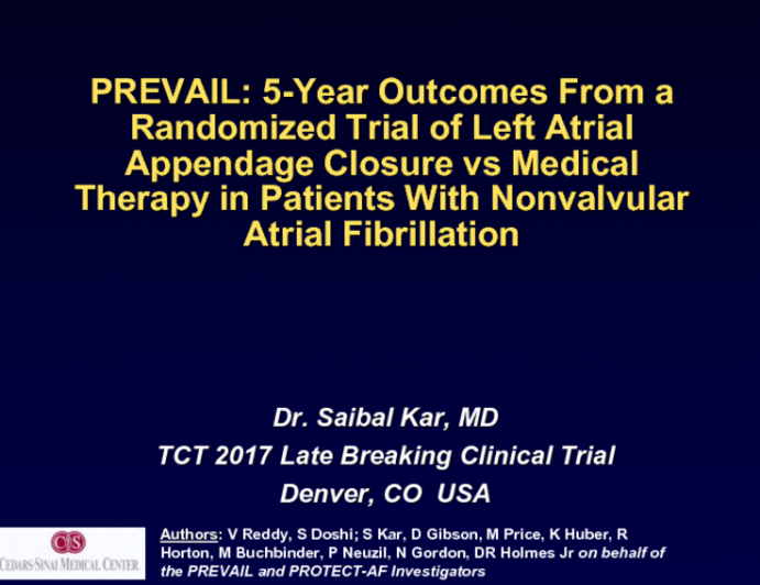 PREVAIL: 5-Year Outcomes From a Randomized Trial of Left Atrial Appendage Closure vs Medical Therapy in Patients With Nonvalvular Atrial Fibrillation