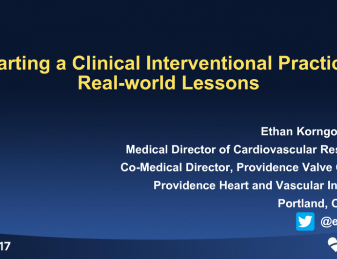 Starting a Clinical Interventional Practice: Real-world Lessons