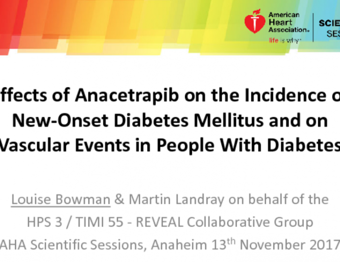 Effects of Anacetrapib on the Incidence of New-Onset Diabetes Mellitus and on Vascular Events in People With Diabetes