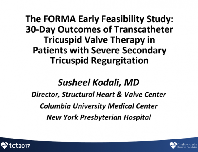 FORMA: 30-Day Outcomes of Transcatheter TV Repair in Patients With Severe Secondary Tricuspid Regurgitation