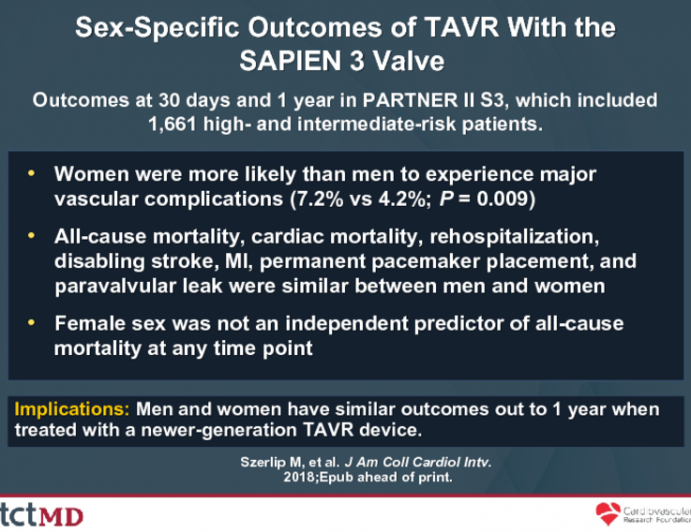 Sex-Specific Outcomes of TAVR With the SAPIEN 3 Valve