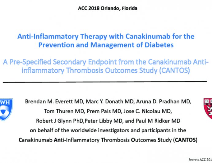 CANTOS: Anti-Inflammatory Therapy with Canakinumab for the Prevention and Management of Diabetes