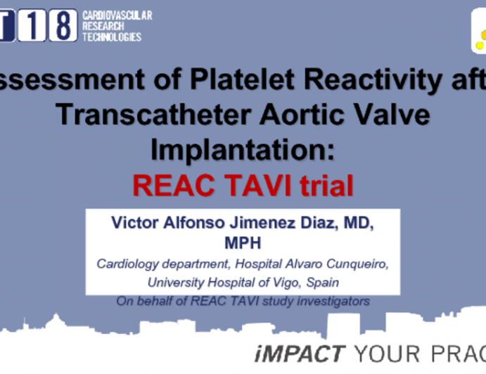 Assessment of Platelet Reactivity after Transcatheter Aortic Valve Implantation: REAC TAVI trial