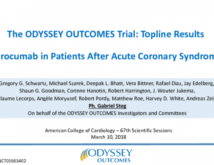 The ODYSSEY OUTCOMES Trial: Topline Results Alirocumab in Patients After Acute Coronary Syndrome